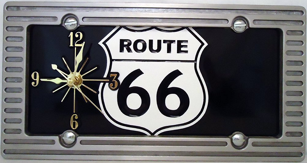 """1 , Quartz Clock, on a, """" ,ROUTE 66, """", Metal Sign, with a, Alloy, Brushed, Aluminum Frame,,27B5.3&27B4.0"""