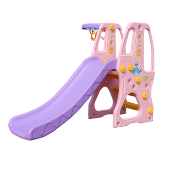 multifunction home kids play plastic slide Combination with basketball playing kindergarten slide set