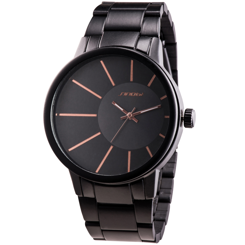 SINOBI Men's Watch Black Stainless Steel Strap Analog Quartz Watch Luxury Casual Watch Men Wristwatch Quartz-watch Relogio