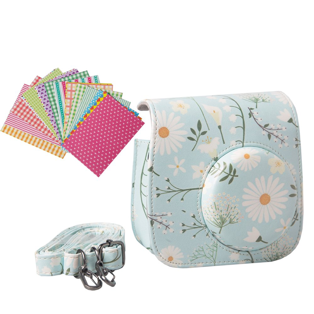 Anntic lovely Instax Mini 8/ 8+/ 9 Case PU Leather for Fujifilm Instax Mini 9 / Mini 8 / Mini 8+ Instant Film Camera with Strap and 20 PCS Stickers - Chrysanthemum