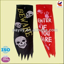 2014 Factory outlets laser Cutting halloween skull flags,halloween decoration