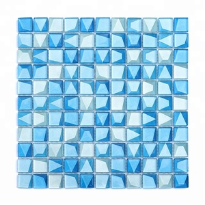 2018 Hot Selling High Quality 3d Ocean Blue Glass Mosaic Pattern Kitchen Backsplash Panel wall Crystal Mosaic Tile