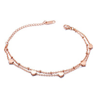 Promotional fancy hot style Stainless Steel Single Bead Chain Slider Heart Charm Women Minimal Bracelet