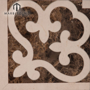 Natural Marble Waterjet Flooring Corner Designs For Hall