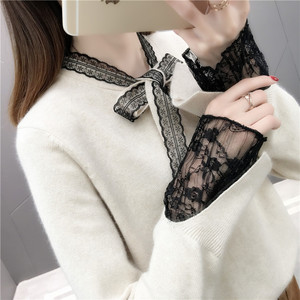 2019 new arrival crew neck long sleeve lovely girls lace tie women sweater