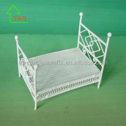 Casa De Muñecas alambre blanco hierro forjado Mecedora En Miniatura Muebles de dormitorio