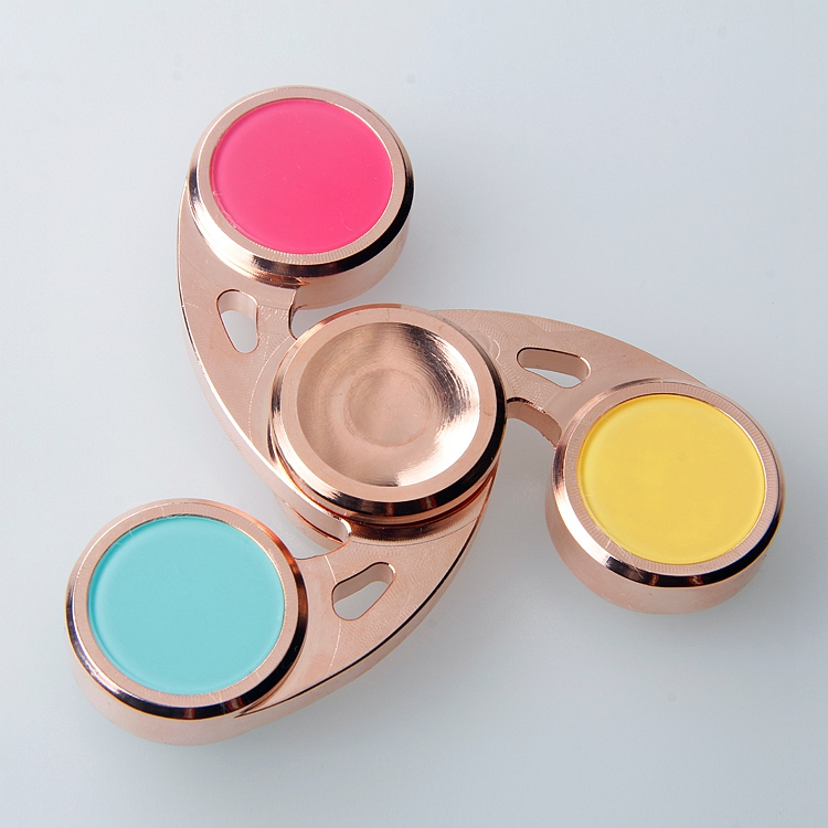 Luxury Colorful 360 Stainless Steel Toy With 606 Bearing Tri Metal Fidget Hand Spinner