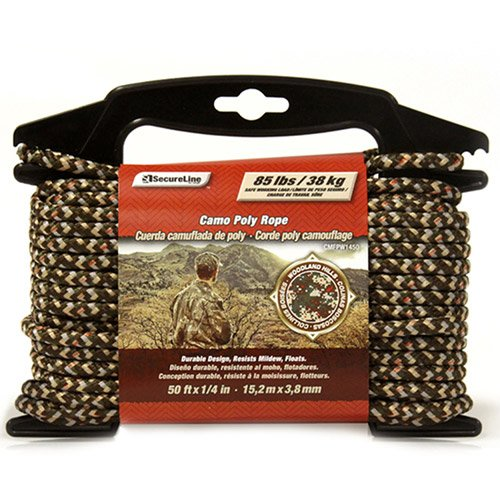 "SecureLine 1/4"" x 50' Diamond Braided Polypropylene Rope, Camouflage"
