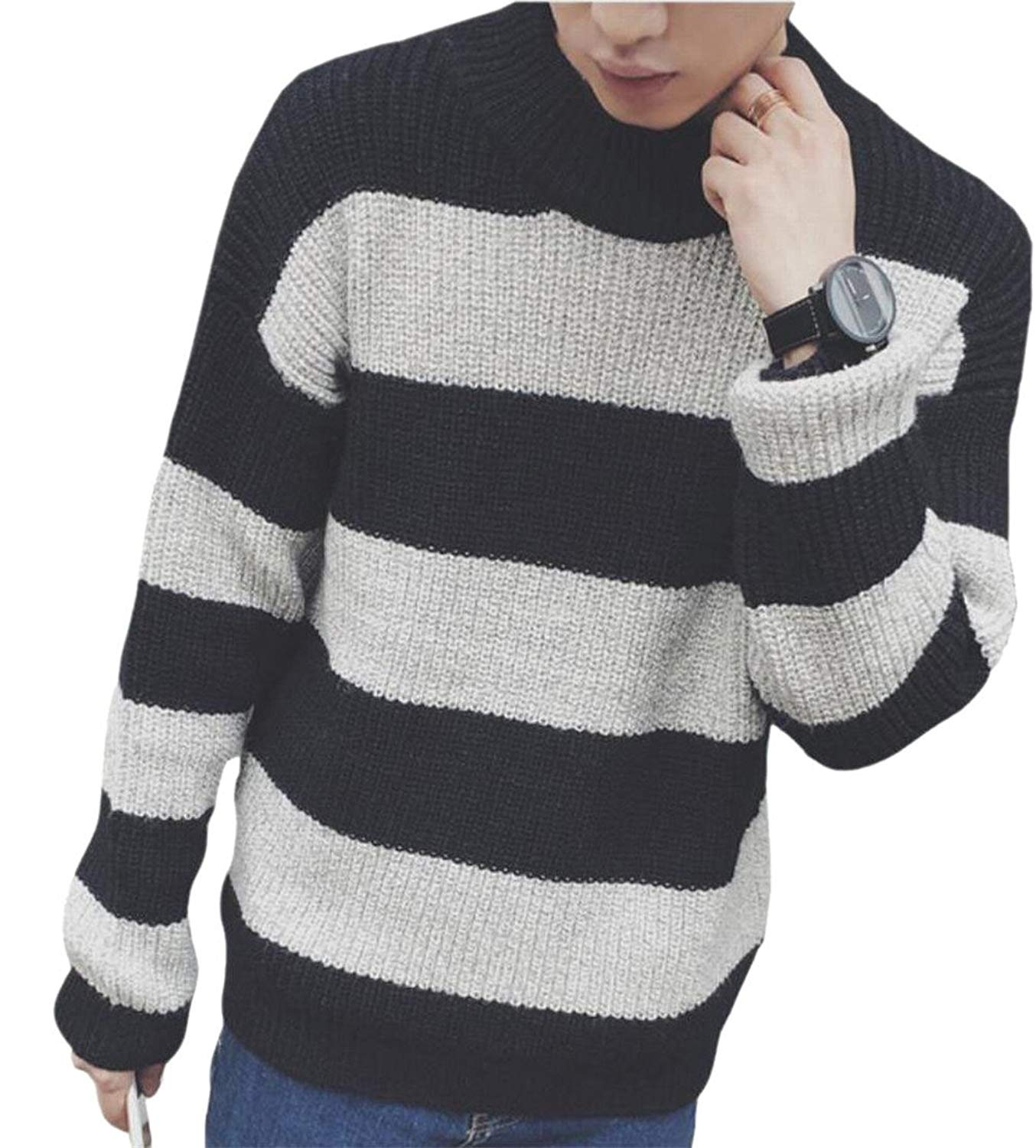 WSPLYSPJY Men Casual Crewneck Long Sleeve Stripes Pullover Knitted Jumper Sweaters