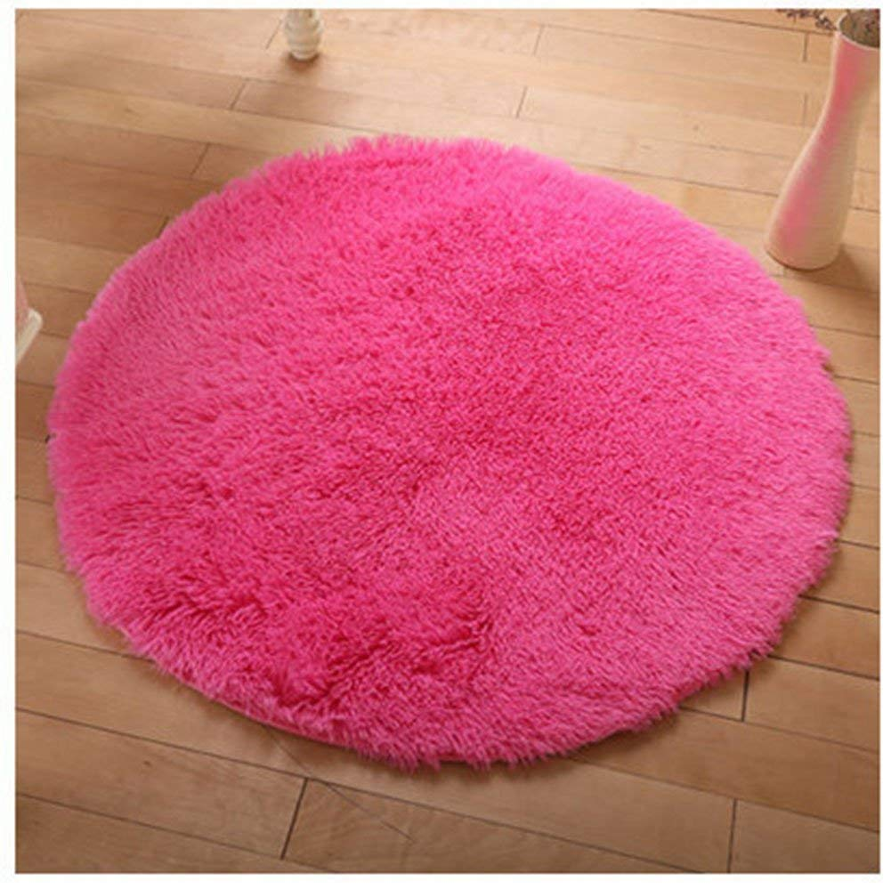 HUPLUE Round Soft Livingroom Rugs Plush Bed Room Mat Modern Shaggy Area Warm Rugs Blankets Home Decor,Rosered