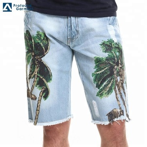 Wholesale Direct Factory Mens Custom Denim Pants Printed Fashion Shorts Jeans