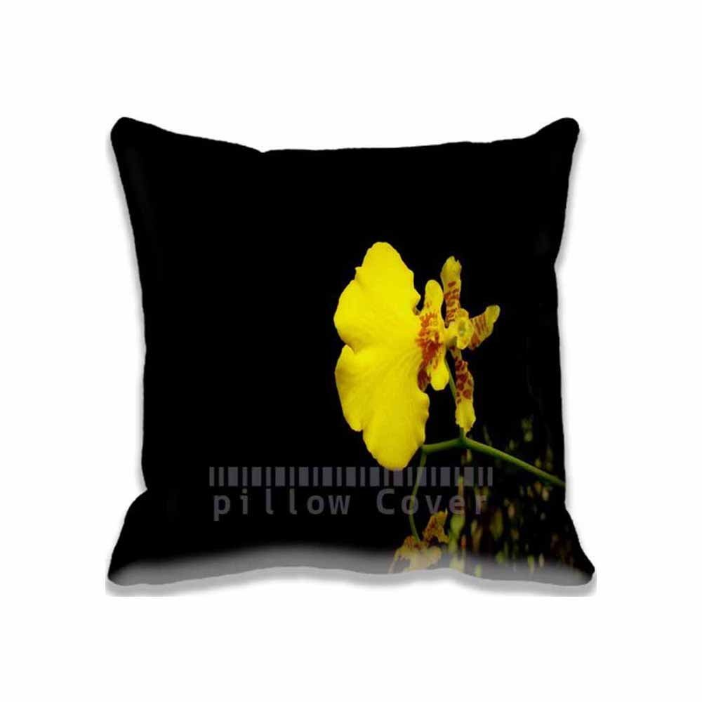 Yellow Orchid Pillow Cases Decorative Pattern Standard Size, Custom Aero/Black Cushion Covers Square for Sofa Home Pillowcase with Zipper, 16x16 inches Twin Sides Print