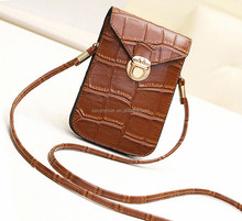 wholesale popular fashion leather mobile phone shoulder bag for carry