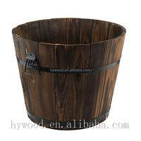 larger capacity garden plant pot wood oak barrel wholesale