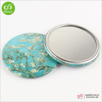 Customized printing Dia 75mm round shape small cosmetic bag mirror