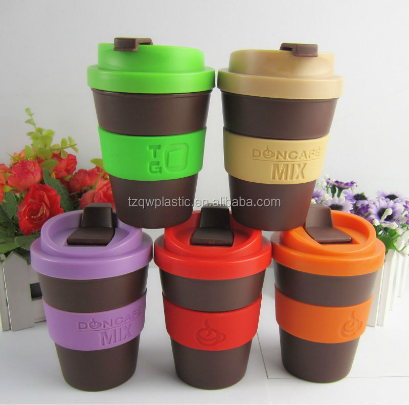 Eco friendly 100% Biodegradable 8OZ plastic coffee cup with Silicone band