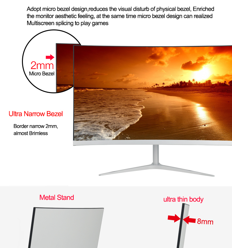 "27"" 1080PDisplay Frameless PC Monitor 27 inch Full HD Curved Computer Gaming Monitor"