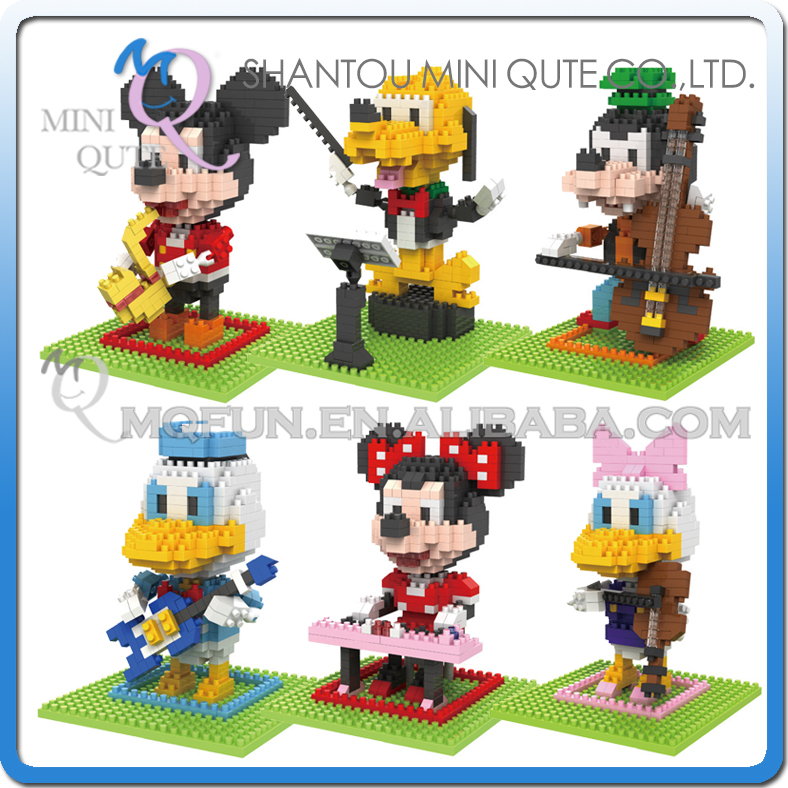 6pcs lot Mini Qute BOB kawaii 3D cartoon piano saxophone mouse plastic diamond building blocks brick