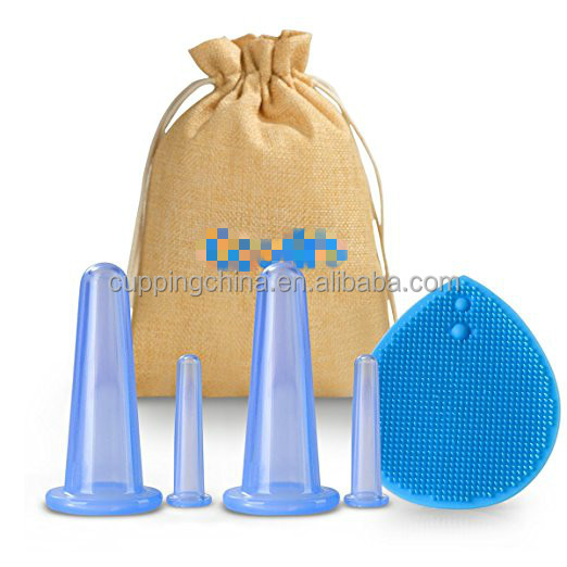 Anti-aging Massage Cups Facial Cupping Therapy Set, Silicone Cupping Massage Kit for Face Eyes Fascia and Cleaning Brush
