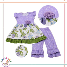 Fashion Girls Clothing Sets purple dress with flowers designs and have a flower wholesale used clothing in australia