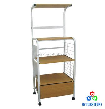 Metal Wire Wooden Kitchen Trolley Cart