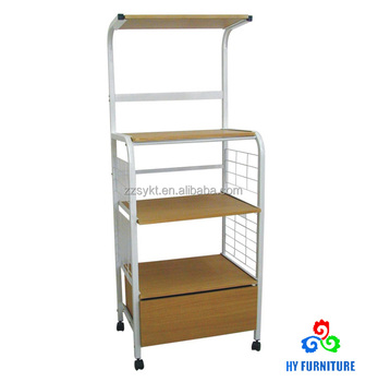 Rolling Metal Wire Wooden Kitchen Trolley Cart Microwave Stand Pantry Rack With Drawer