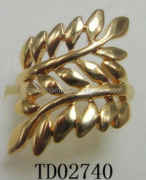 Newest Lady s Leaf Design Round Finger Ring Antique Gold silver