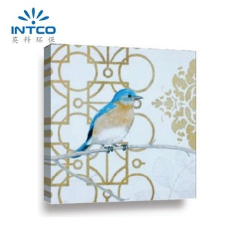 INTCO home decor 23x23 inches bird butterfly canvas oil painting