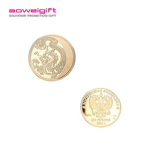 Entertainment metal memorial coin Plating Chinese dragon Pattern 3D Metal collection Commemorative coin