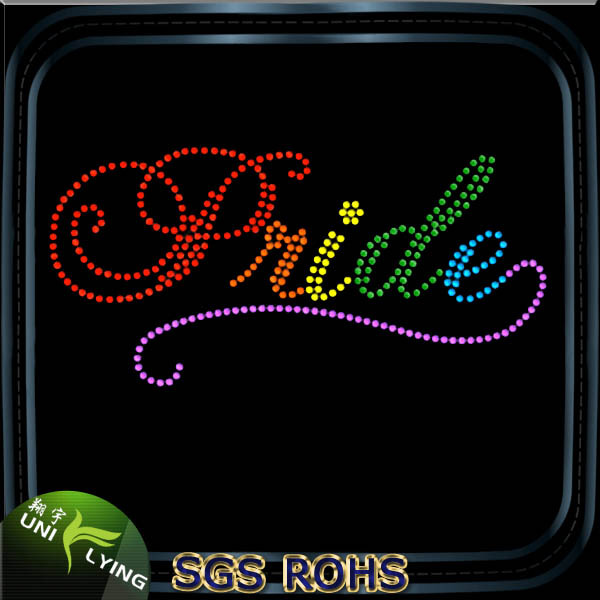 Wholesale Rainbow Color Letter Rhinestone Design Custom Pride Iron On Heat Transfer For T-shirt