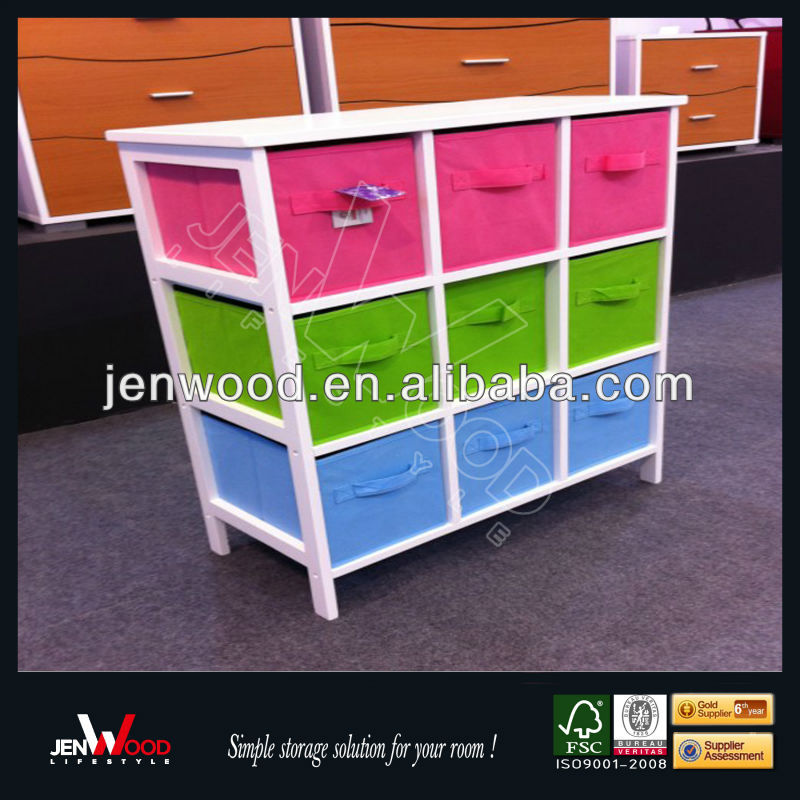 colorful design 9 cubes with non woven storage box wooden toy chest