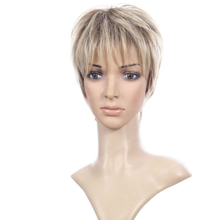 Blonde Color Caucasian Short Wigs - Buy Caucasian