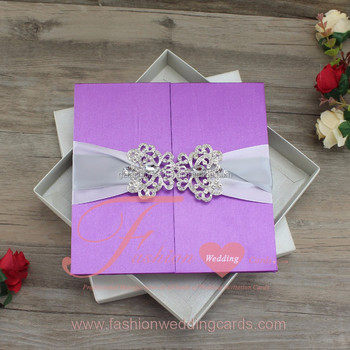 Luxury design royal purple silk customized ribbon silk wedding luxury design royal purple silk customized ribbon silk wedding invitation box stopboris Image collections
