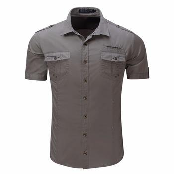 891cd05fd12ab Hombre camisa de manga corta estilo militar uniforme al aire libre camisa
