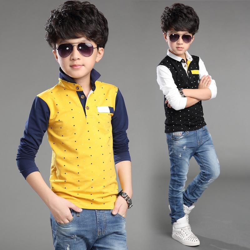 T Shirt For Boys Autumn Cotton Casual Children Clothing Cute Polka