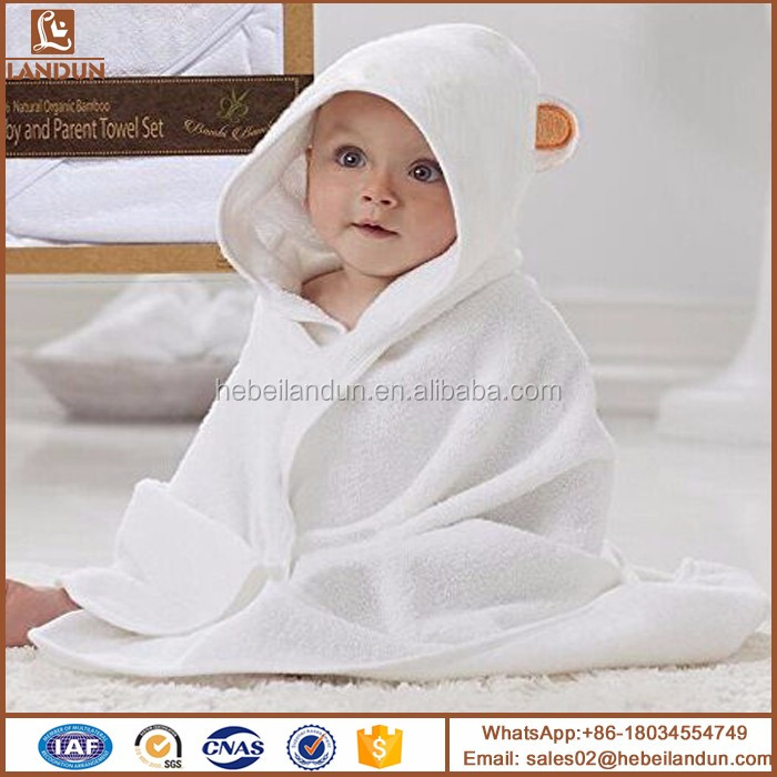 Wholesale Animal Pattern Plain white bamboo children hooded Poncho towels for kids