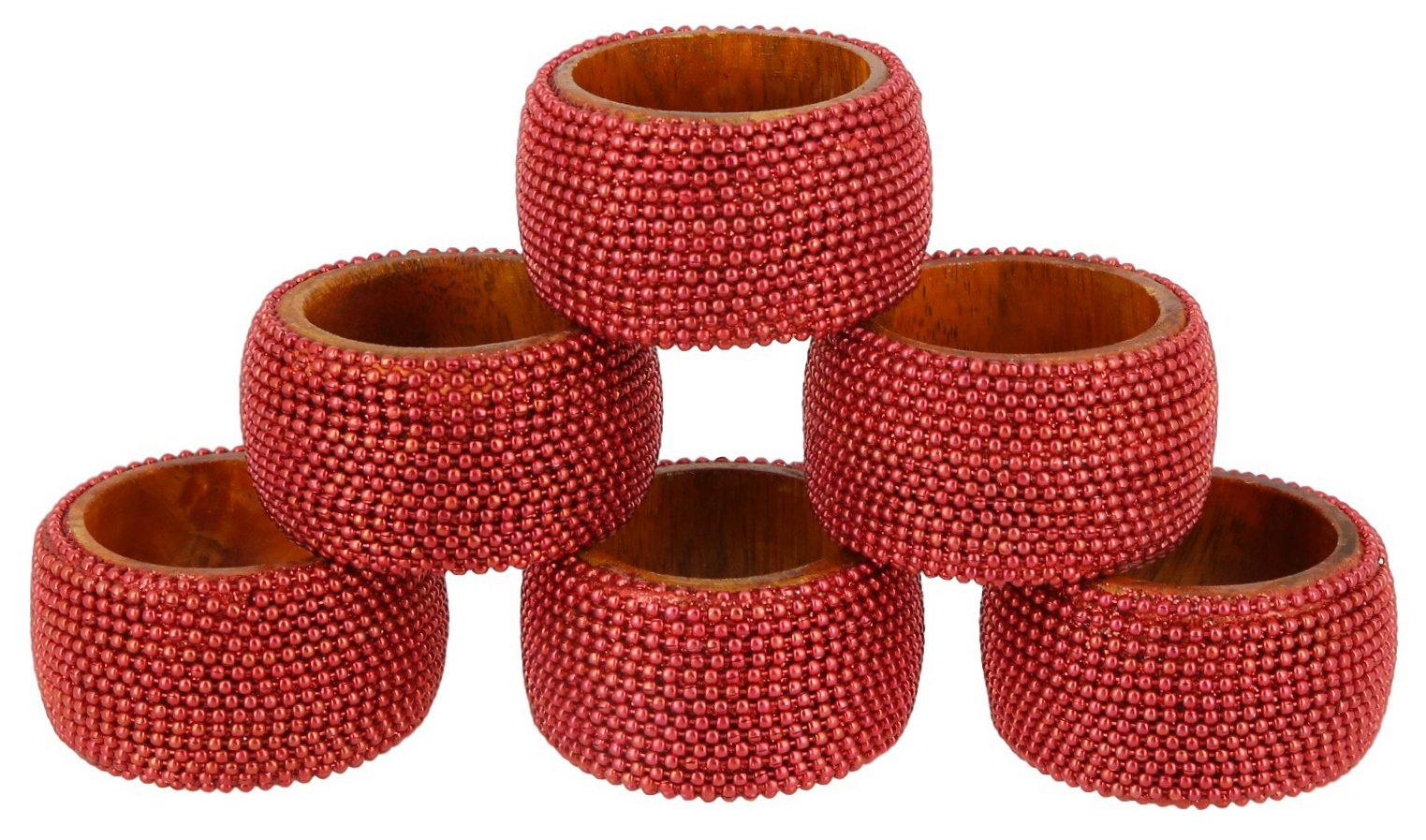 Shalinindia Handmade Indian Red Aluminum Ball Chain Wooden Napkin Ring Set - Set of 6 Ring Napkin Holders - Industrial Chic Look - Made in India