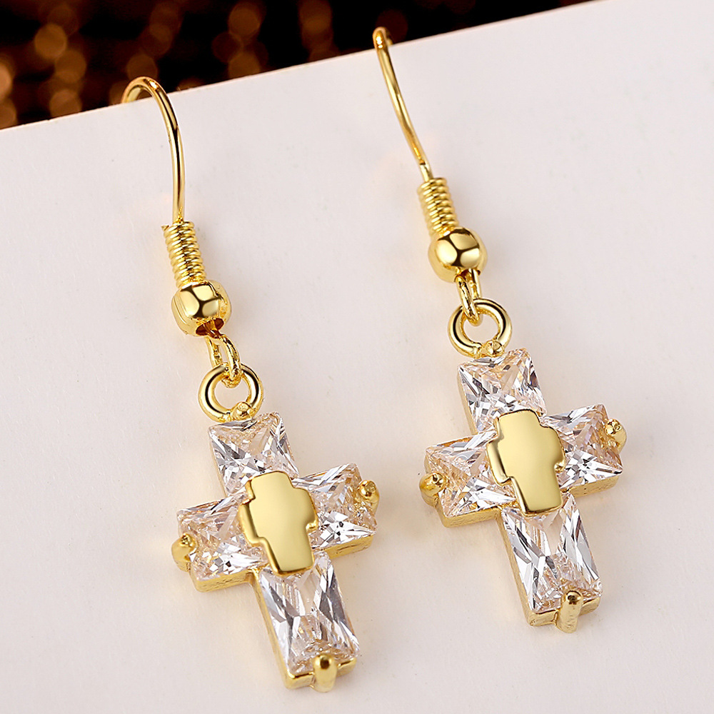 Clear cz stone jesus cross earrings dangle cross earrings