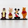 4pcs lot Anime Cartoon Character Mickey Piglet Animal Figure Mouse Bear Piggy Model Toys Free Shipping
