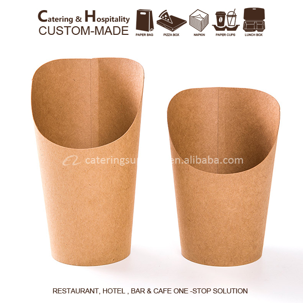12/16oz Disposable kraft paper french potato chips holder scoop paper cups french fries box