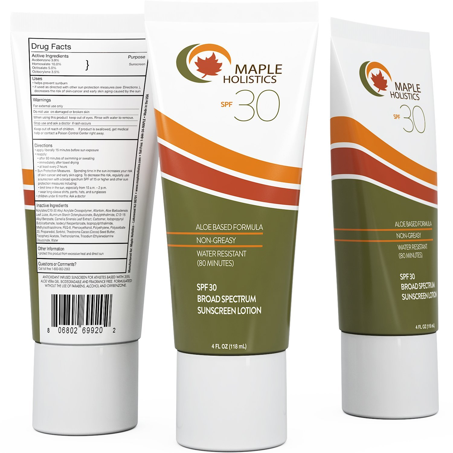 Natural Broad Spectrum Sunscreen SPF 30 - Antioxidant Infused Sunblock Face Lotion for Women and Men - Suntan Lotion for Sensitive Skin - Water Resistant and Sweat Resistant with Moisturizing Aloe