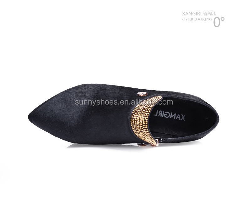 genuine sexy high horsehair suede black women leather PU shoes heel EwgBgq