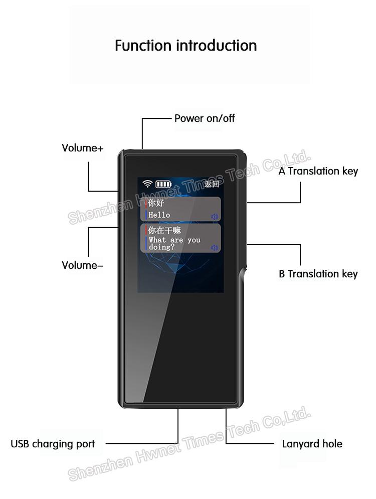2.4 นิ้วขนาดพกพาเครื่องแปลเสียงแบบพกพา T6 WIFI 4G รองรับเครื่องแปล 52 ภาษา