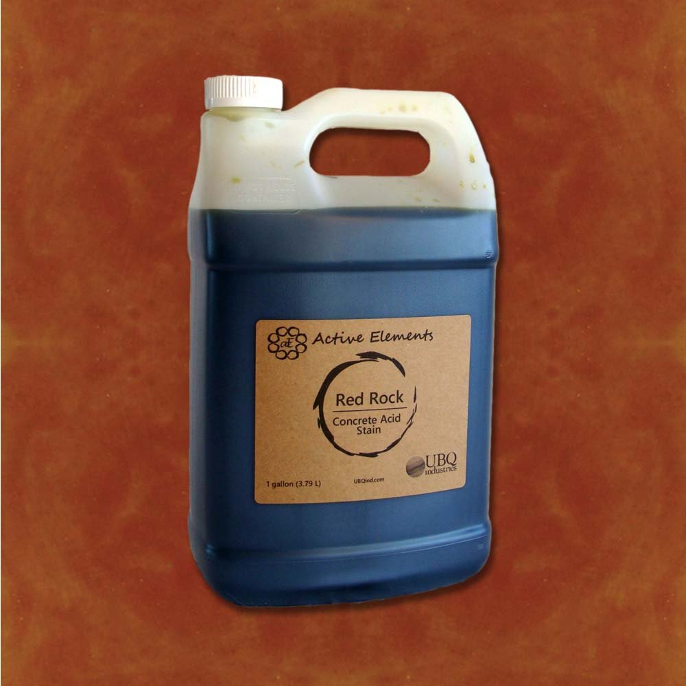 Official Concrete Acid Stain - 1 gallon - easy to use - Rosewood (Dark Red to Brownish)