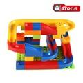 Free shipping 47pcs DIY Construction Marble Race Run Maze Balls Track Plastic House Building Blocks Toys