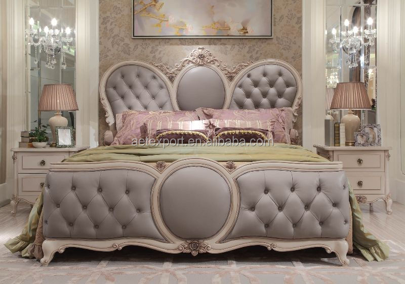 Elegant french rococo style bedroom furniture set wood king size bed with  full leather. Elegant French Rococo Style Bedroom Furniture Set Wood King Size
