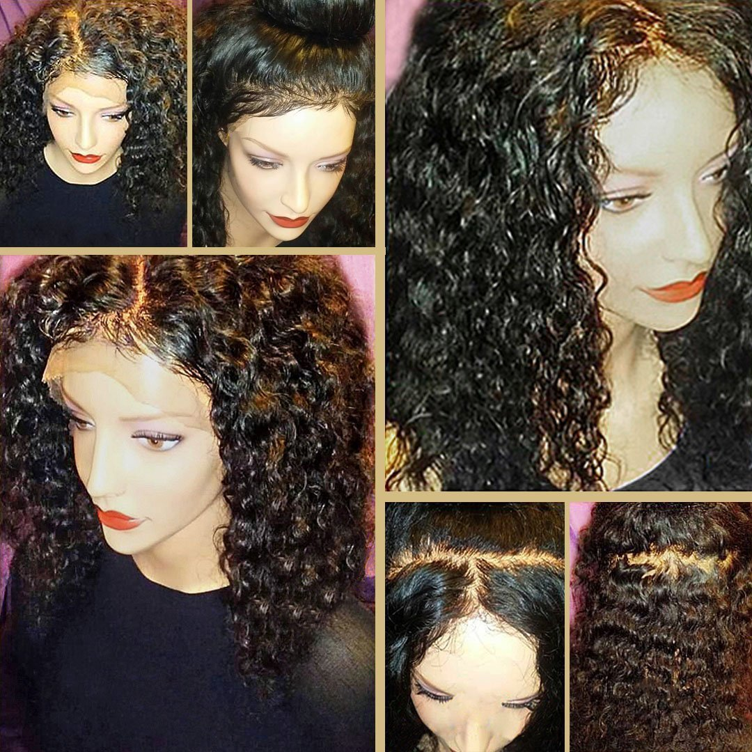 8A 360 Lace Frontal Wig with BaBy Hair Pre-Plucked Natural Hairline Brazilian Virgin Hair 180% Density Curly Hair 360 Lace Wig for Black Women(24inch )