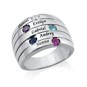 Personalize Jewelry Five Stone Mothers Ring In Silver, Custom Made Stone Mother Ring