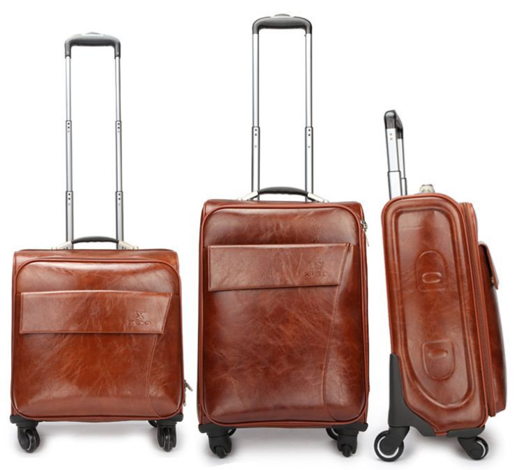 4a500030d3 Buy Men and Women PU Leather Travel Suitcase Vintage Luggage Travel Bag  Universal Wheels Trolley Luggage 20