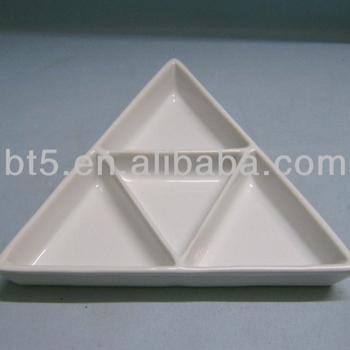 Triangle White Ceramic Divided Dinner Plate